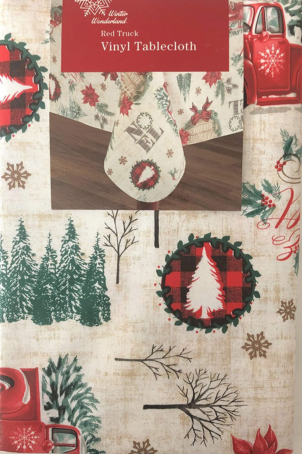 Tablecloth 85x85 cm Christmas Tree Red Check with Embroidery Christmas Winter
