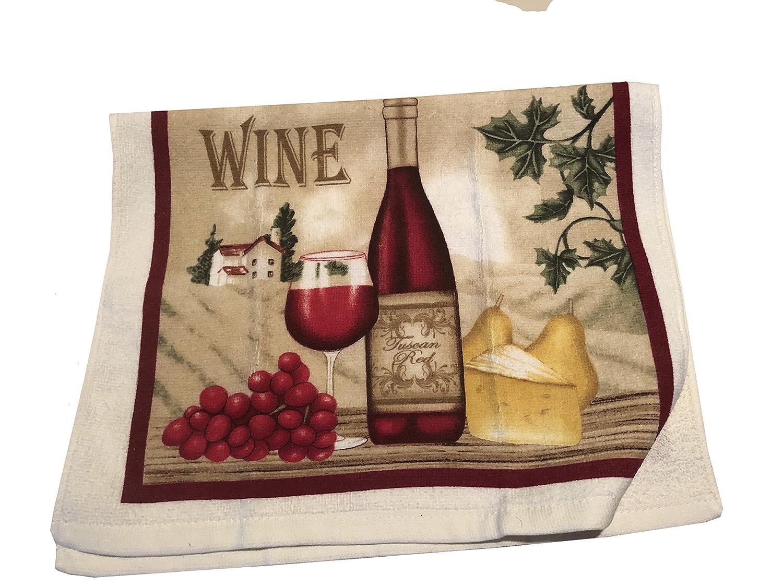 Kitchen Towel New Electric Stove Burner Cover Wine Theme Set Oven Mitt