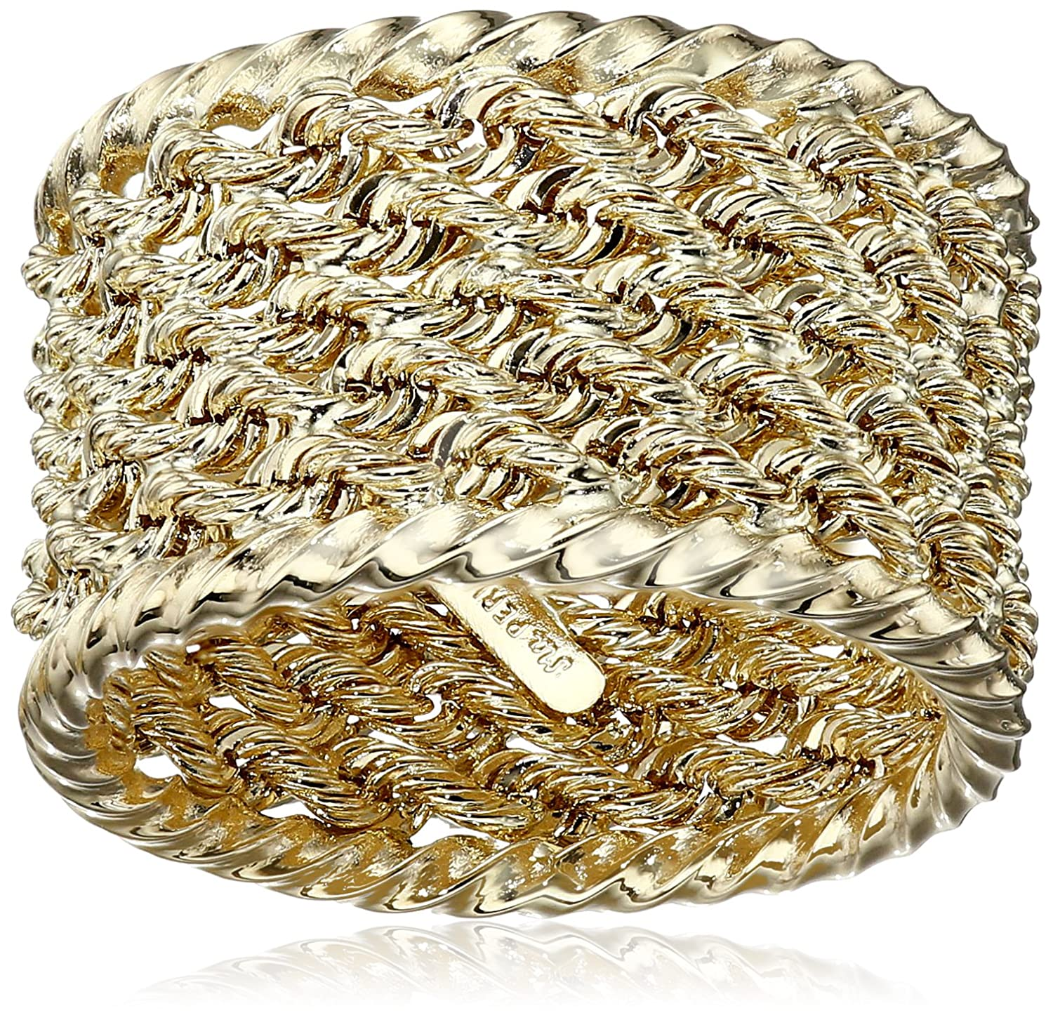 14k Yellow Ladies Gold Rope Ring, Size 7 Amazon Collection FRN017735Y7