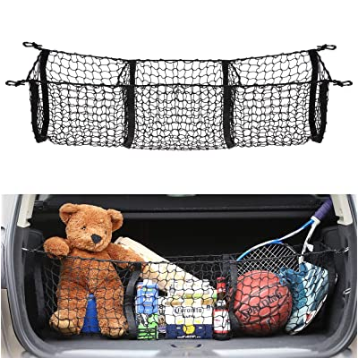 AUTOAC Truck Bed Nets for Truck Cargo Net Trunk Stretchable 3 Pocket Bed Organizer: Automotive