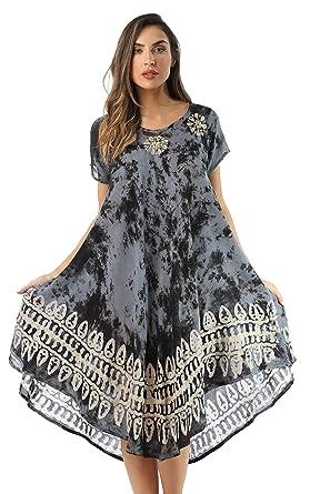 1a70215241b Riviera Sun Batik Tie Dye Summer Dress Beach Cover Up at Amazon ...
