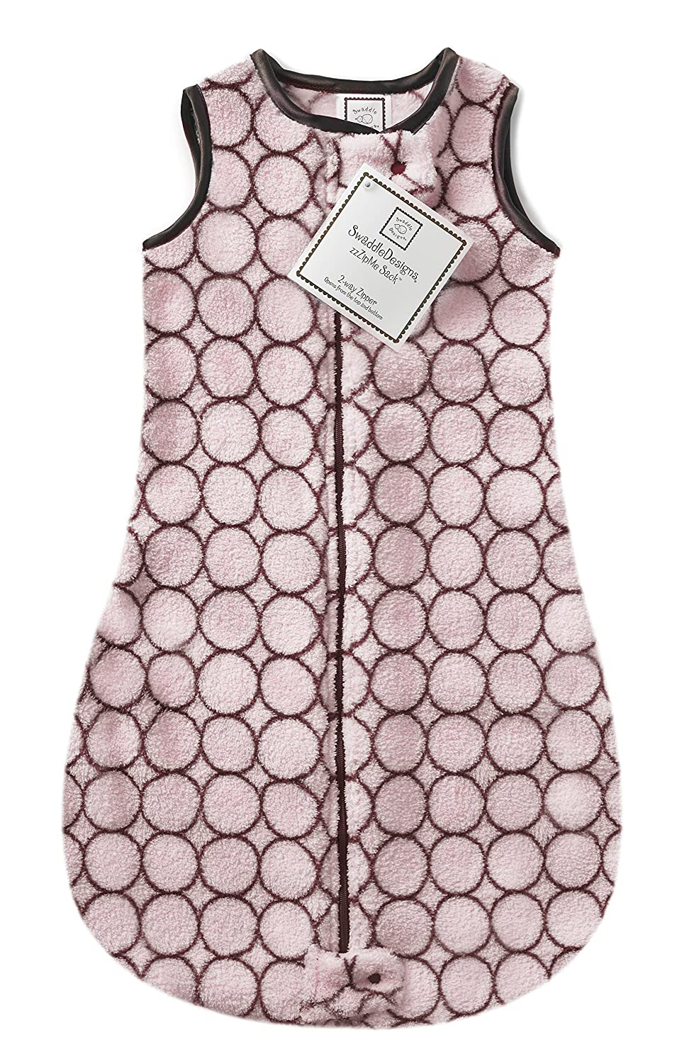 SwaddleDesigns Microplush Sleeping Sack with 2-Way Zipper, Brown Mod Circles on Pink, 3-6MO SD-080PP-3MO