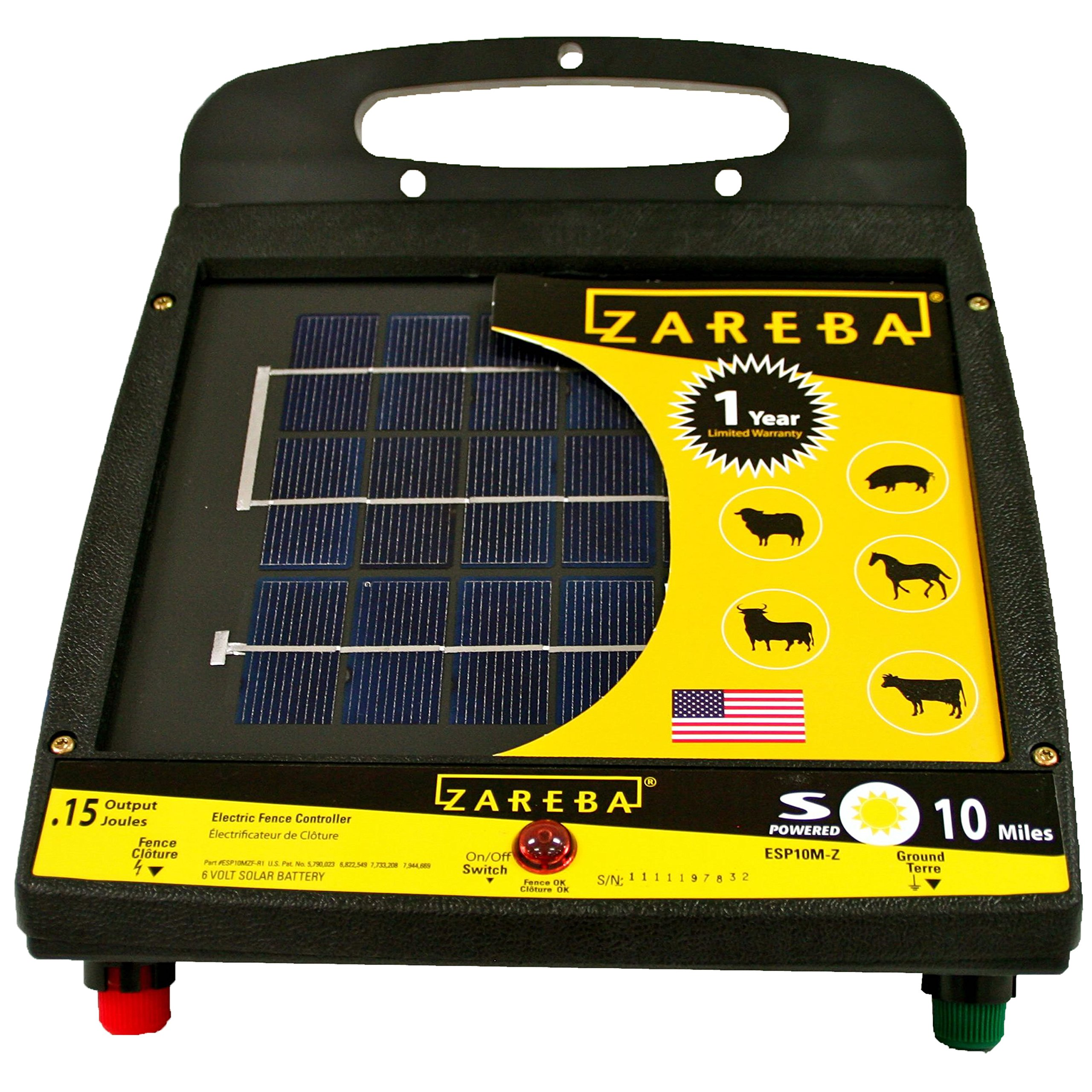 Zareba ESP10M-Z 10-Mile Solar Low Impedance Fence Charger