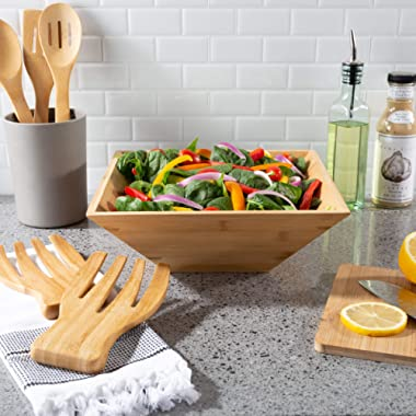 Classic Cuisine 82-KIT1113 11-Inch Bamboo Salad Bowl with Utensils – FDA Certified Modern Square Wood Dinnerware Eco-Friendly and Bacteria Resistant