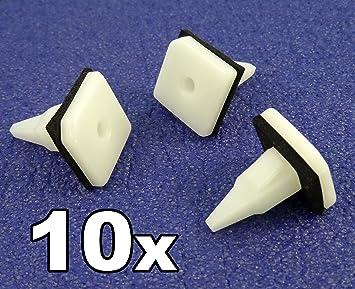 10 x Clips, remache plástico, Grapas - Mitsubi Plástico Recorte clip para Sill Molduras, Taloneras, tapas de balancines: Amazon.es: Coche y moto