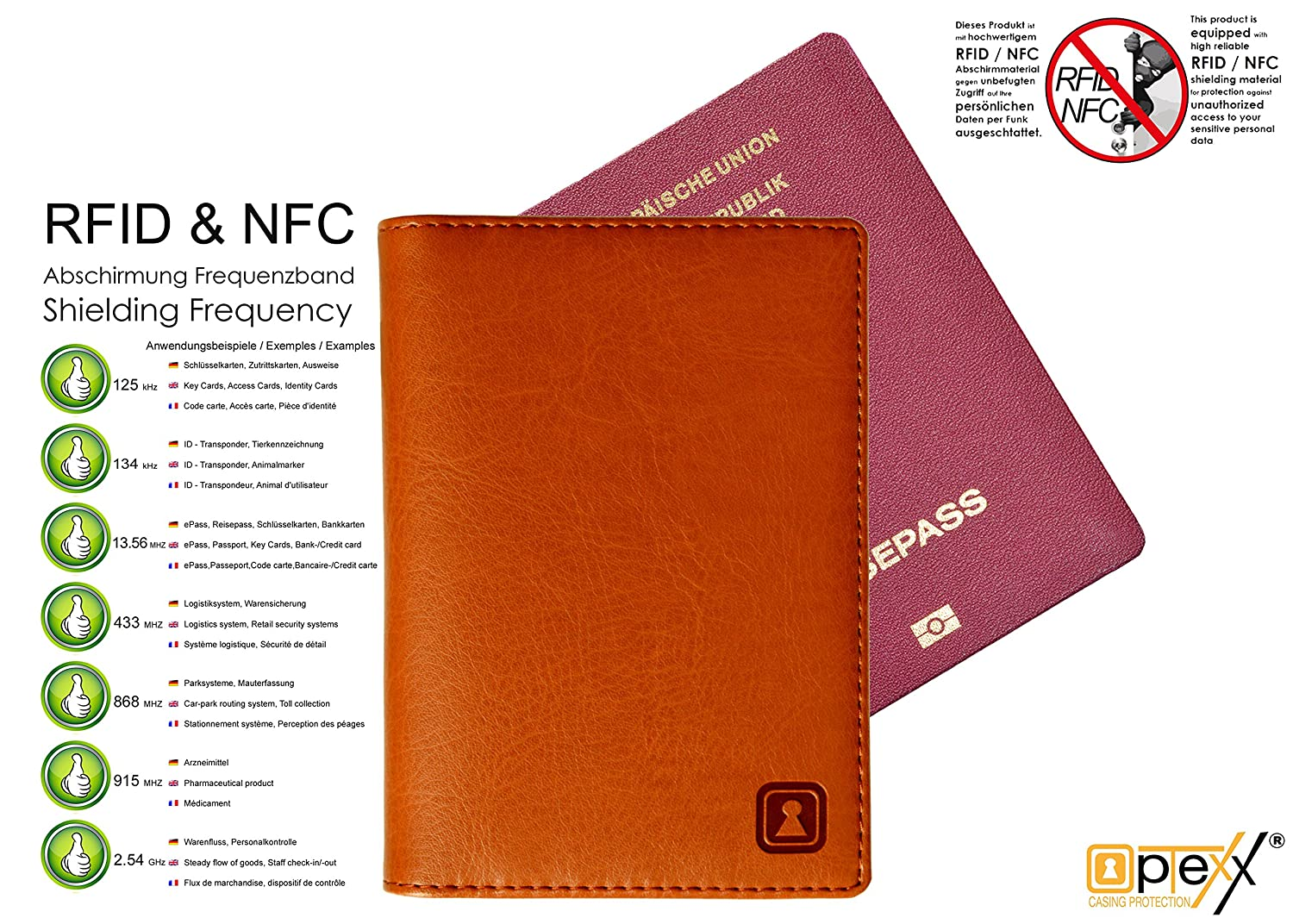 d6fb25cdcf65 Amazon.com: OPTEXX RFID Blocking Passport Wallet Mika Cognac TÜV ...