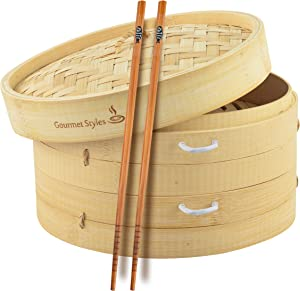 Gourmet Styles | Traditional Handmade Natural Bamboo Steamer Basket 10 inch, 2 Baskets, Side Handles, Wax Liners & Chopsticks | 2 Tier Food Pot Basket Cooker for Vegetables, Meat, Dumplings, Dim Sum