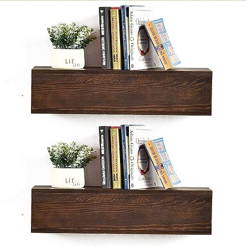 WELLAND Rustic Floating Shelves Set of 2, 24-Inch Wall Shelves for Bathroom, Bedroom, Living Room, Kitchen, Espresso