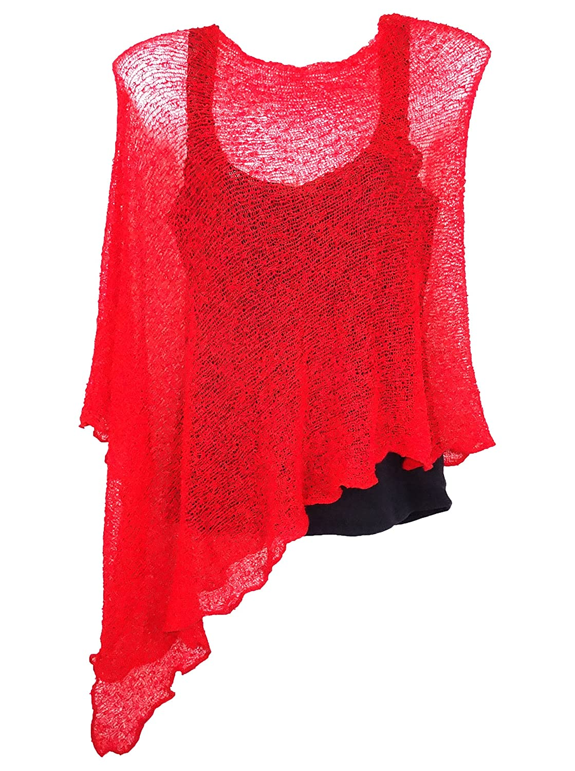 Poncho Rouge Gilet Cache Coeur Pull Femme Taille Unique Shrug Red Maill  Aérée Leger cape red 605df9f691ce