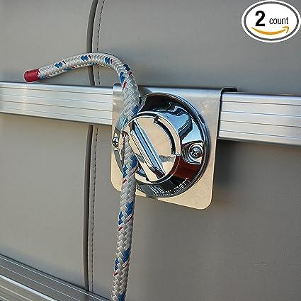 2 Pc Pontoon Boat Rail Fender Rope Adjuster Clip Portable Hanger Bumper Docking