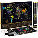 Unique Scratch Off Map of The World - Large Deluxe Personalized Travel Map Poster with B0NUS Scratch Off USA Map – Outlined US States, Landmarks, Roads, Rivers – All Accessories Included – Great GlFT