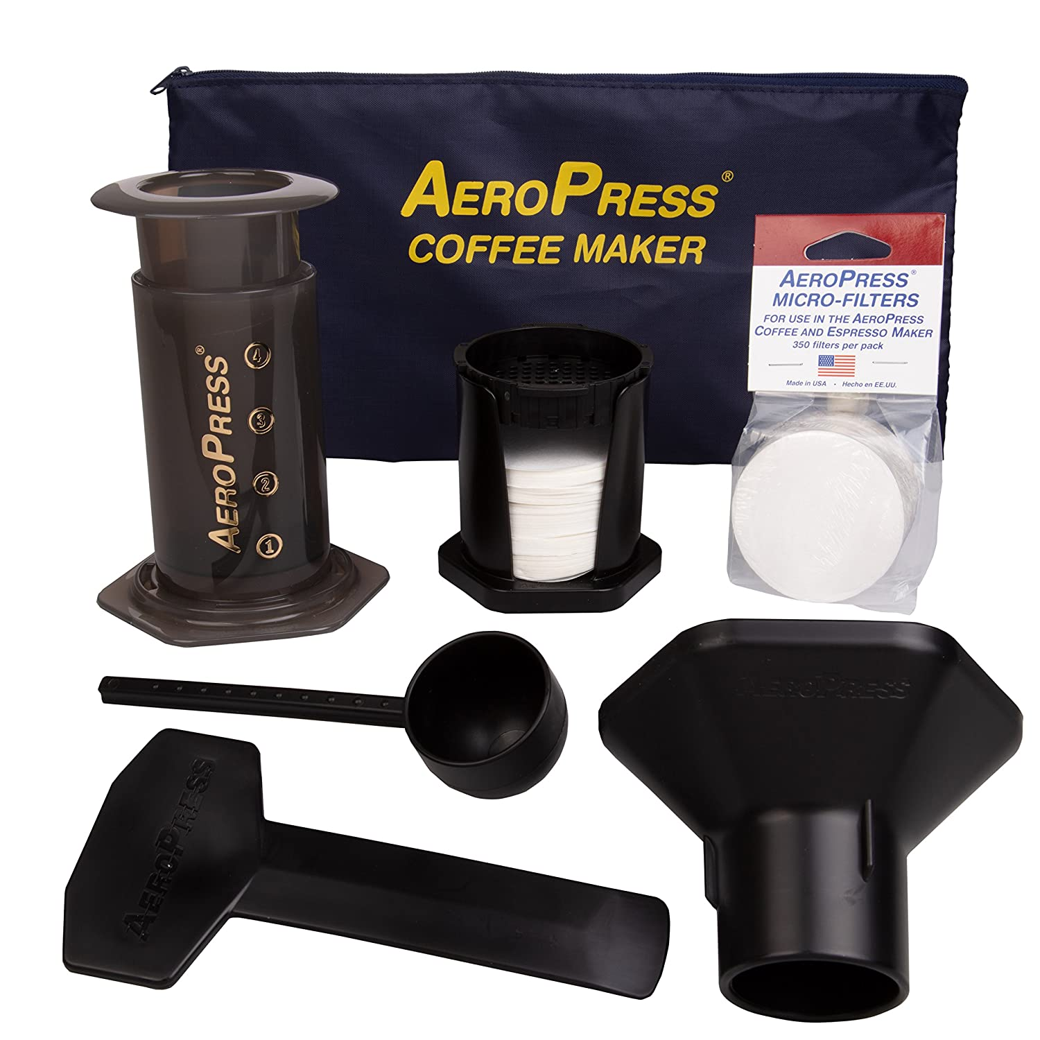 AeroPress Coffee and Espresso Maker with zippered nylon tote bag and an Extra 350 Micro Filters (700 Total) 82R08B