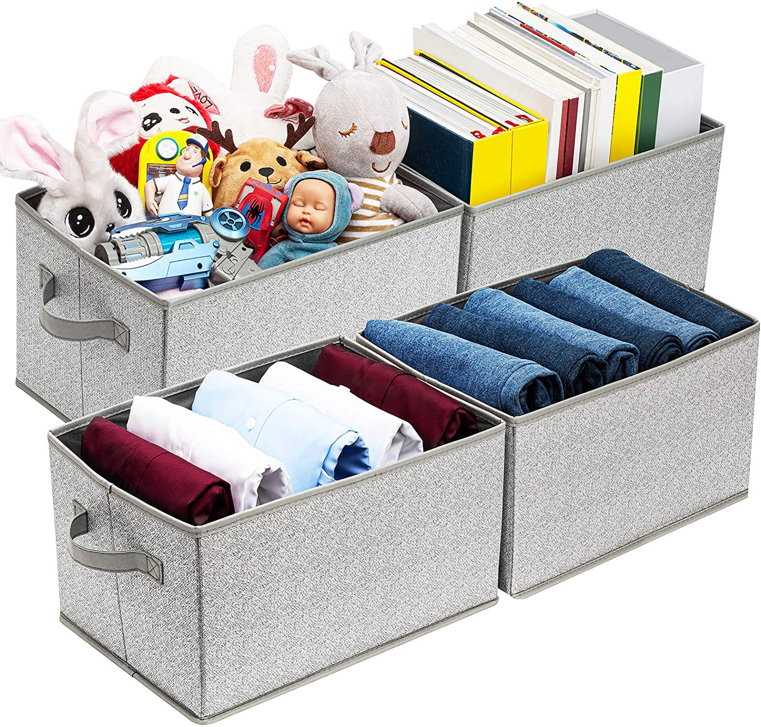 Artsdi Storage Bin for Shelves, Rectangle Storage Box, Fabric Storage Baskets Containers, Closet Organizer Shelf Cube Box with Handle Home Office, Extra Large, Gray, 4 Pack