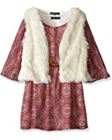 My Michelle Big Girls' Printed Peasant Dress With Belt and Fuzzy Soft, Vest