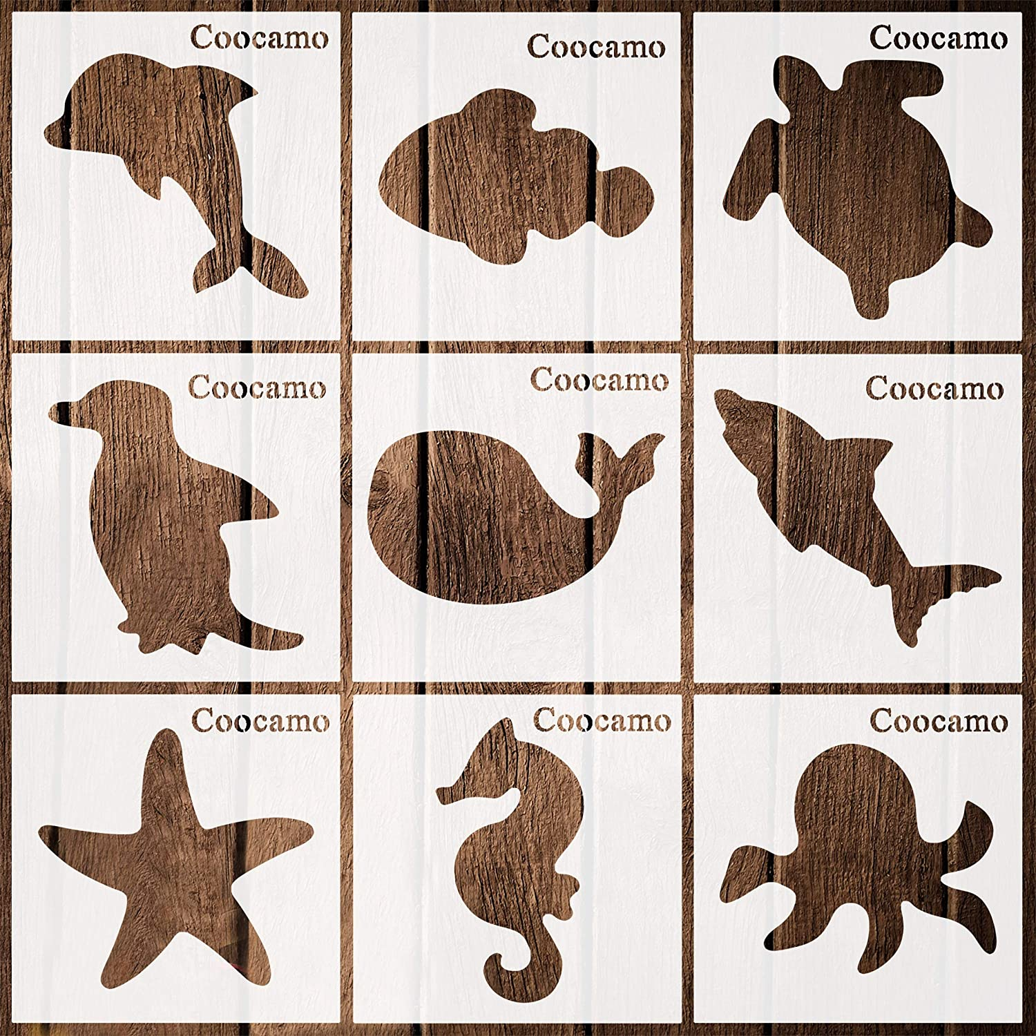 Coocamo 9 Pieces Marine Life Stencils Plastic Drawing Templates Reusable Ocean Life Theme Plastic Art Crafts Stencils for DIY Craft Painting Drawing