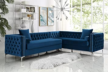 amazon com inspired home navy corner sectional sofa design rh amazon com
