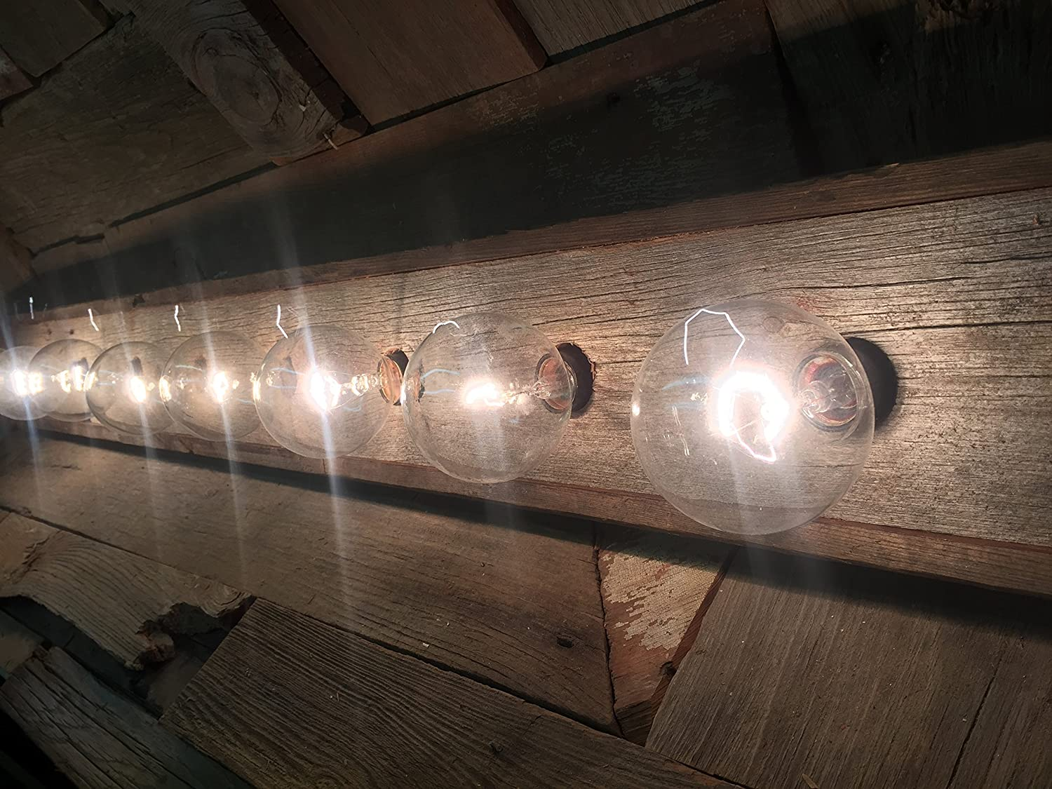 8 Bulb rustic barn wood bathroom vanity light bar