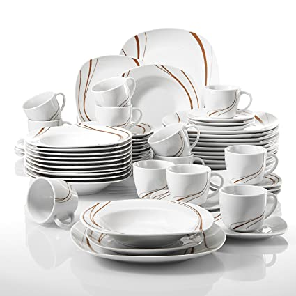 VEWEET 60-Piece Ceramic Dinnerware Set Kitchen Plates Saucers Mugs Stoneware Orange Stripe Patterns Dinner  sc 1 st  Amazon.com & Amazon.com: VEWEET 60-Piece Ceramic Dinnerware Set Kitchen Plates ...