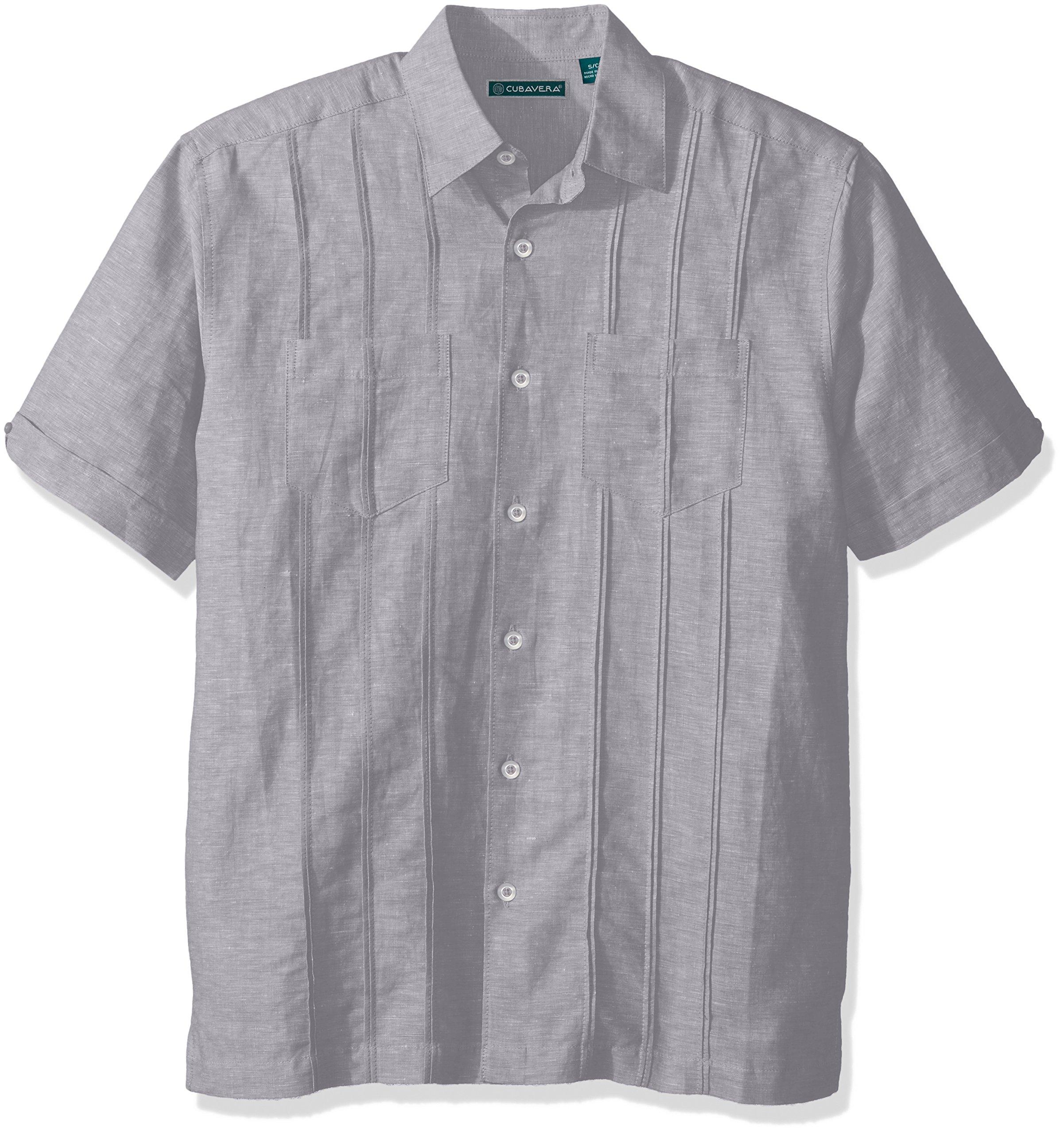Cubavera Men's Short Sleeve Linen-Blend Shirt with Two Top Pockets and Pleats, Sleet, Large