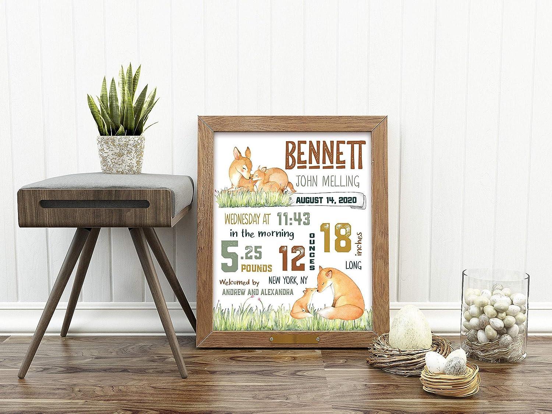 Ced454sy Woodland Estadísticas de nacimiento de ciervo zorro guardería decoración de la guardería detalles de nacimiento mamá y yo recién nacido arte de pared personalizado baby shower recuerdo