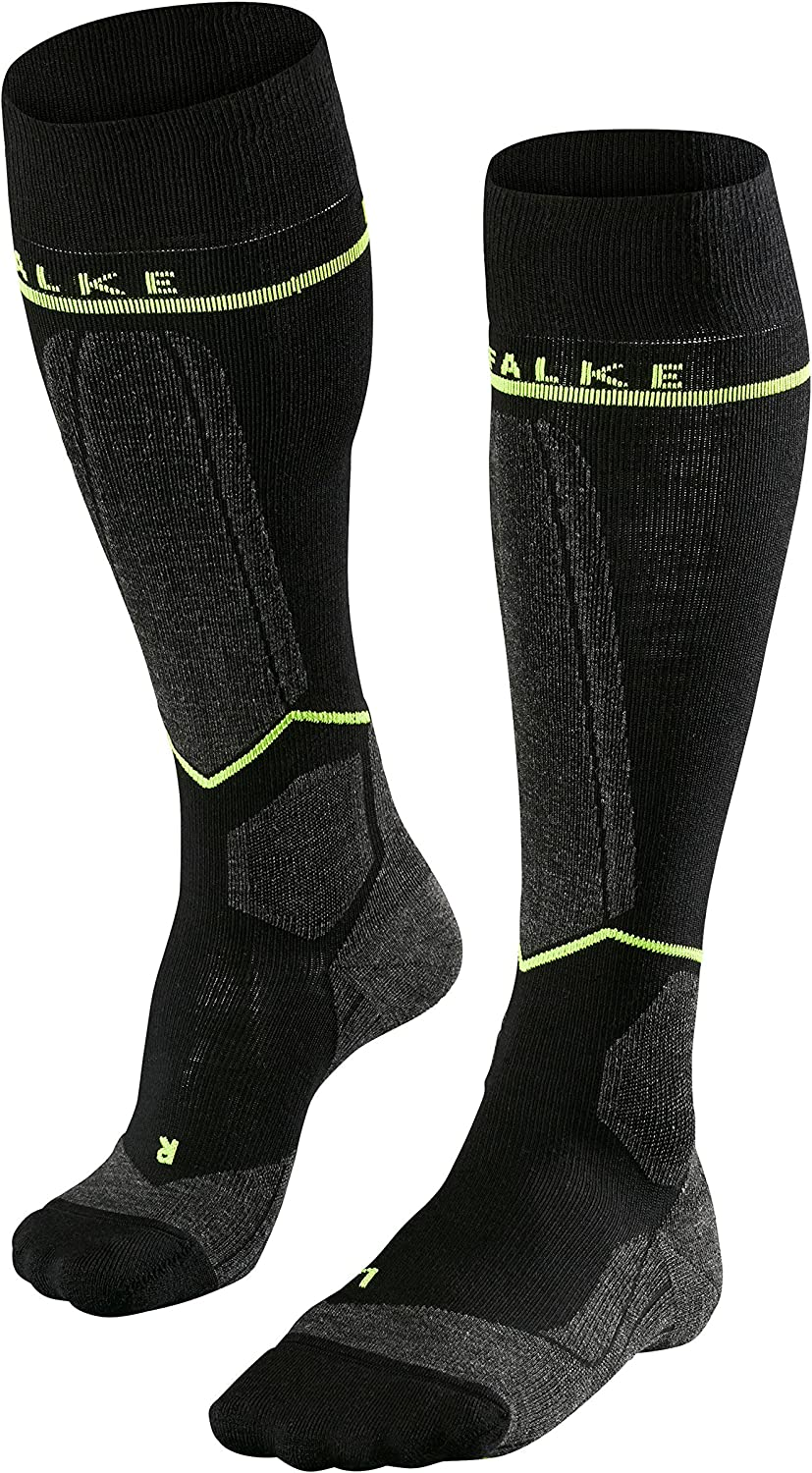 Warm FALKE Men SK Energizing Wool Compression Ski Socks sweat wicking UK sizes 5.5-11 In Black fast drying 1 Pair Blue or Red Merino Wool Blend facilitates recovery breathable EU 39-46