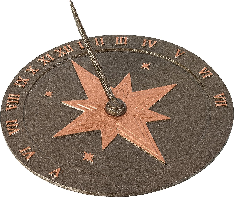 """Montague Metal Products Roman Sundial, 10.5"""", Antique Copper"""