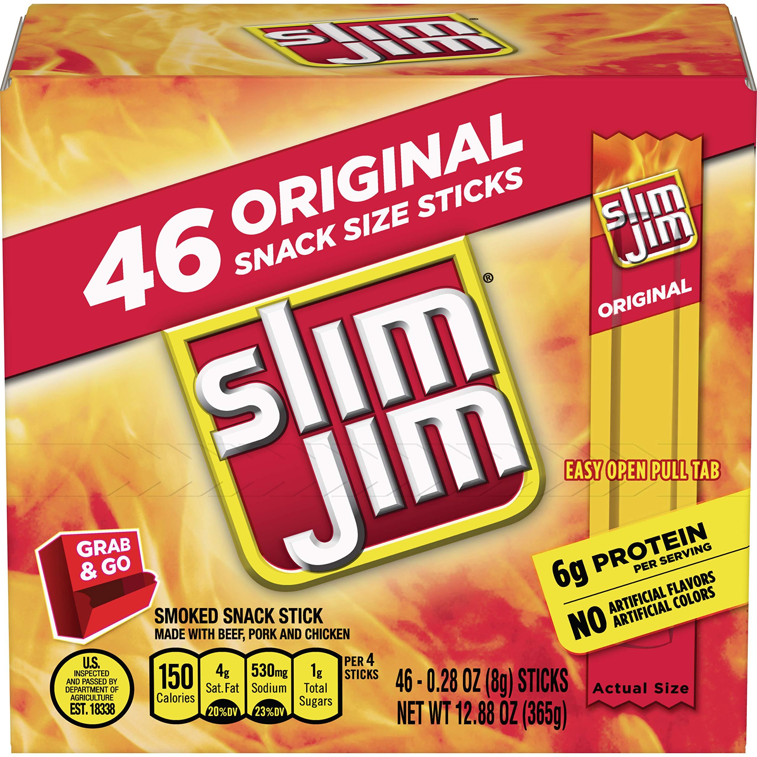 Slim Jim Smoked Snack Stick Pantry Pack, Original, 0.28 oz Stick 46Count by Slim Jim