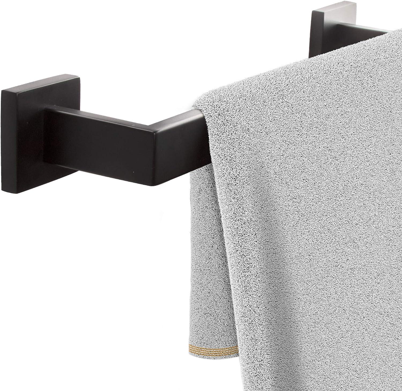 ECENCE Toallero para Montar en Pared, Soporte para Toallas con Tornillos, Color Negro, toallero Cuadrado para baño de Acero Inoxidable 40cm Negro