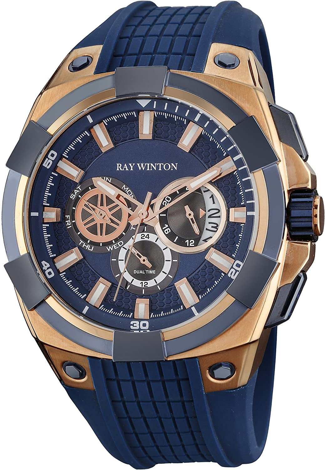 Ray Winton Men s Multi-Function Blue Dial Blue Silicone Strap Dual Time Watch