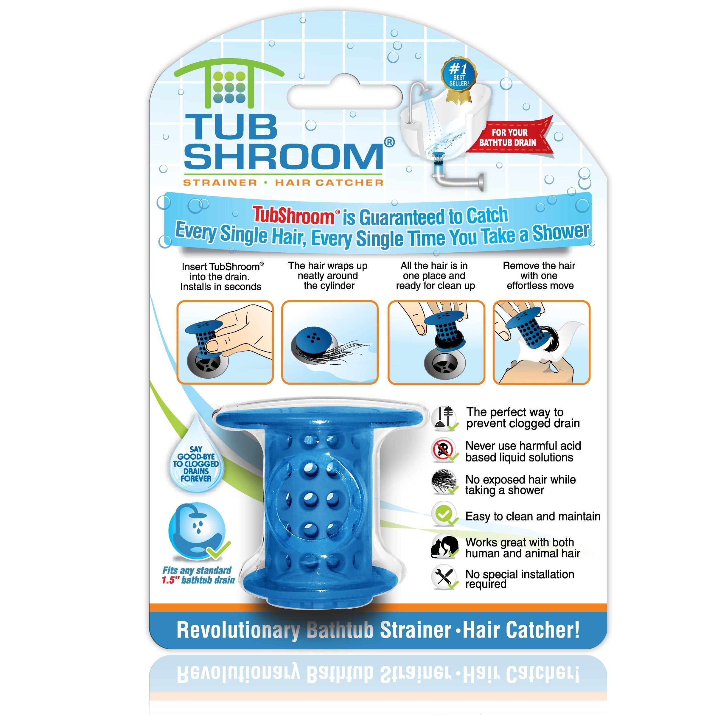 TubShroom The Revolutionary Tub Drain Protector Hair Catcher/Strainer/Snare, Blue by TubShroom