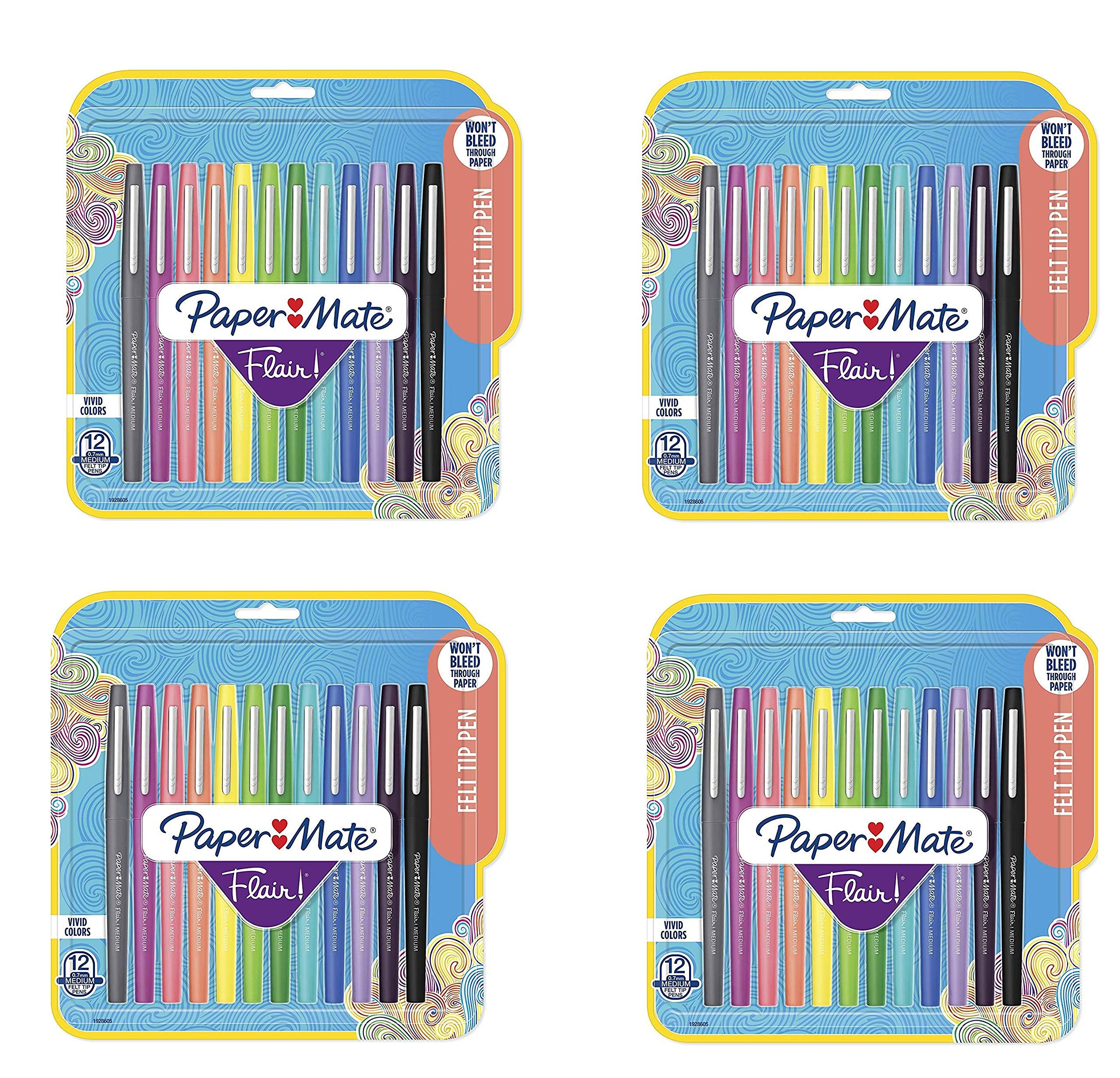 1928605 Flair Felt Tip Pens, Medium Point (0.7mm), Tropical and Classic Colors, 12 Count