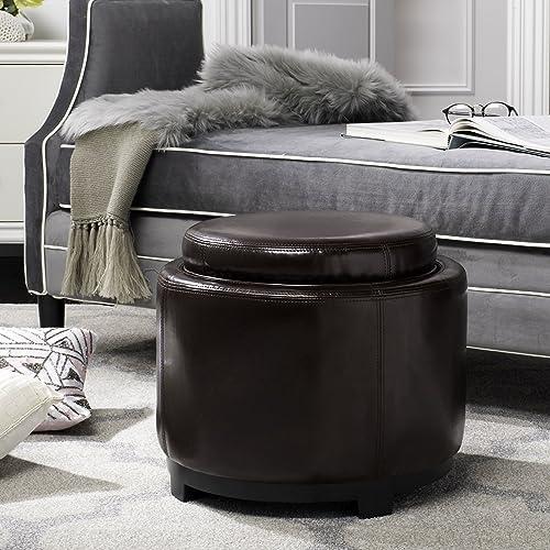 Safavieh Hudson Collection Chloe Leather Single Tray Round Storage Ottoman, Cordovan