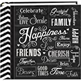 "Pioneer Photo Albums EV-246CHLK/H  200-Pocket Chalkboard Printed ""Happiness"" Theme Photo Album for 4 by 6-Inch Prints"