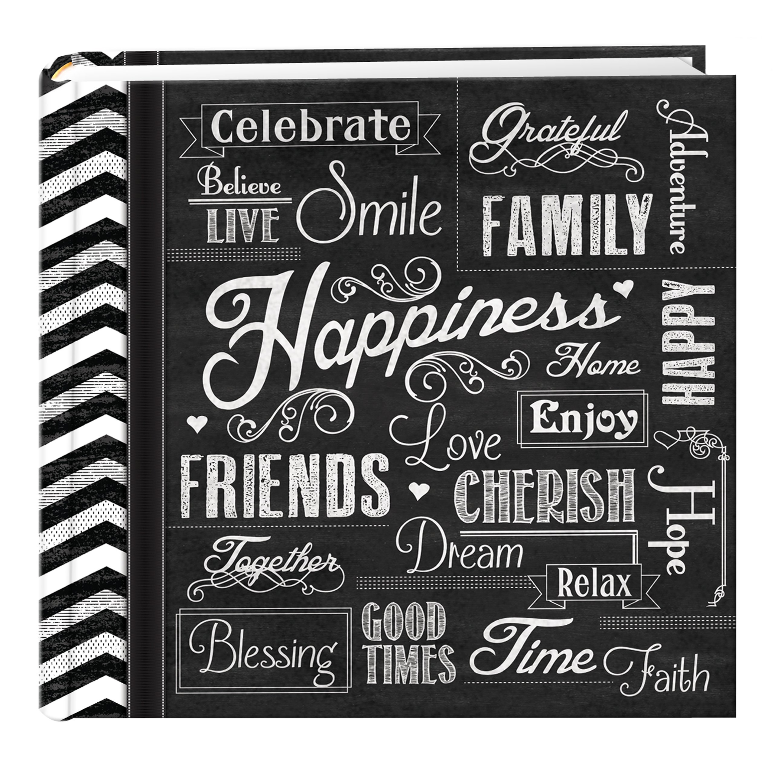 Pioneer Photo Albums EV-246CHLK/H 200-Pocket Chalkboard Printed Happiness Theme Photo Album for 4 by 6-Inch Prints by Pioneer Photo Albums