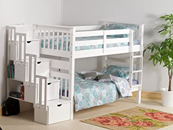 Mission Tm Captains Staircase Bunk Bed White Storage Amazon Co Uk