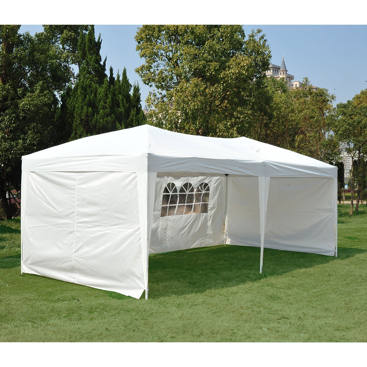 Clevr 10'x20' Wedding Party Canopy Tent, Outdoors Events Gazebo, with Removable Sidewalls with Windows, Fits 30 People, Great for Event and Party Pavilion Cater by Clevr