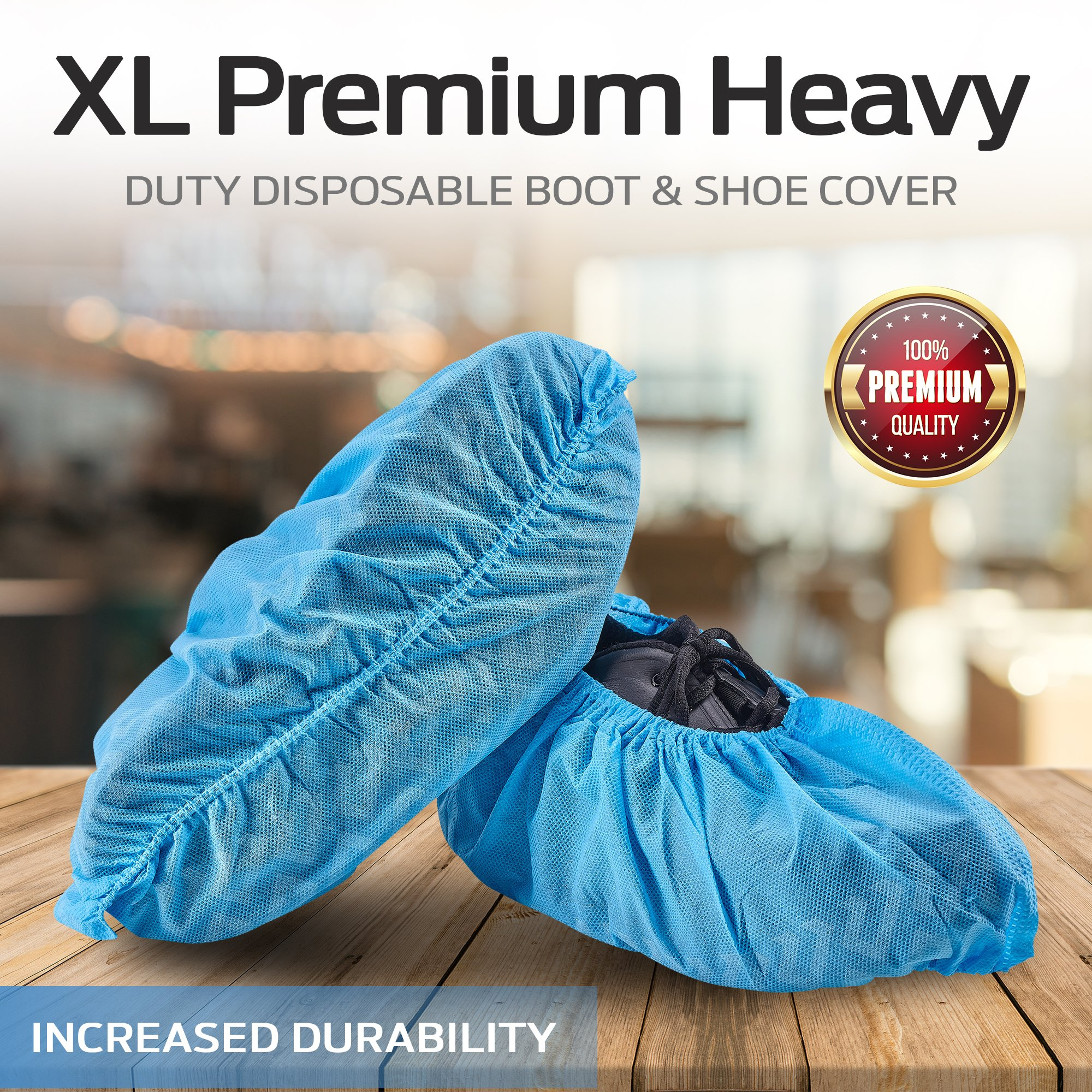 HouseHold Impressions 120 Pack Extra Thick Large Disposable Blue Shoe & Boot Covers for Indoor/Outdoor & Traveling | 60 Pairs of Non-Slip Booties for Home, Medical, & Workplace | One Size Fits Most by HouseHold Impressions (Image #9)