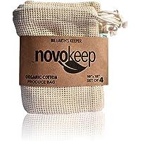 Novokeep Reusable Produce Bags - Organic Cotton Mesh Bags, Set of 4, 10x12Inch, Eco-Friendly Grocery & Veggie Storage…