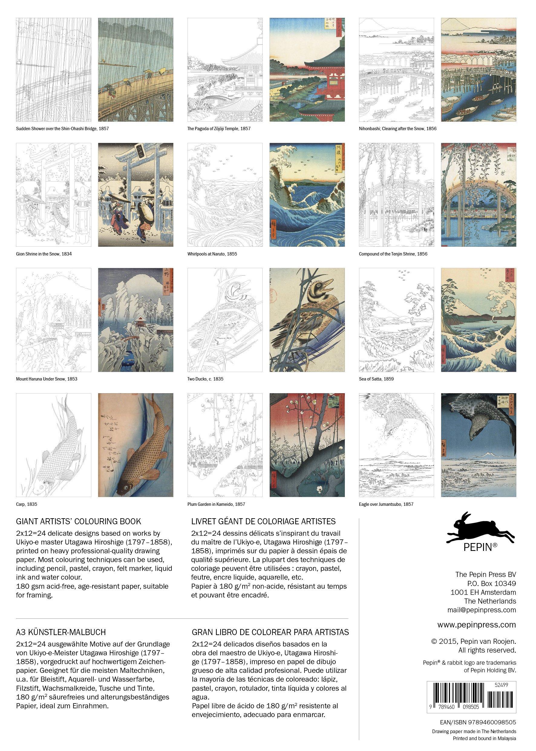 Coloring books for artists - Hiroshige Giant Artists Colouring Books Pepin Van Roojen 9789460098505 Amazon Com Books
