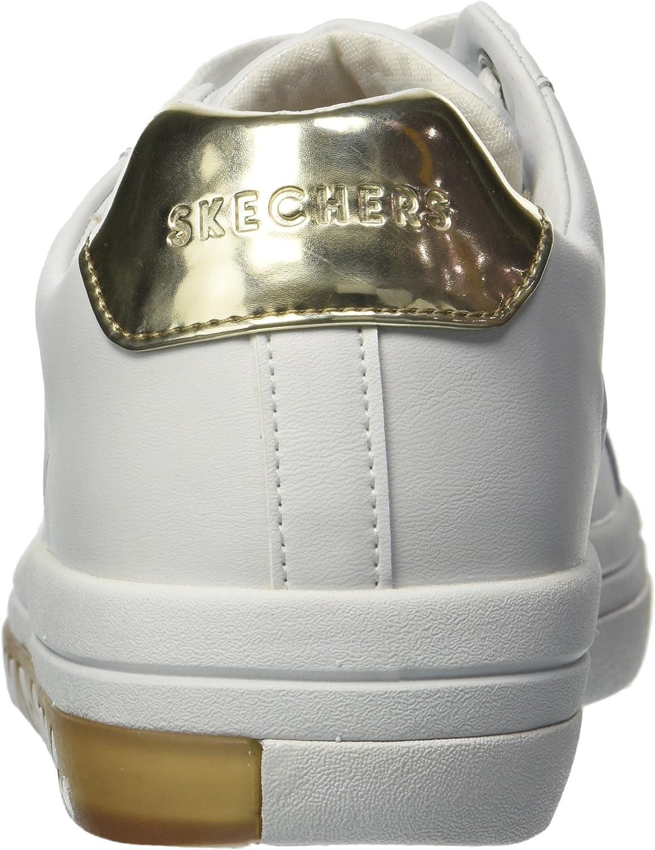 Skechers Street Sweet-Step on It, Baskets Femme Blanc White Gold Wtgd