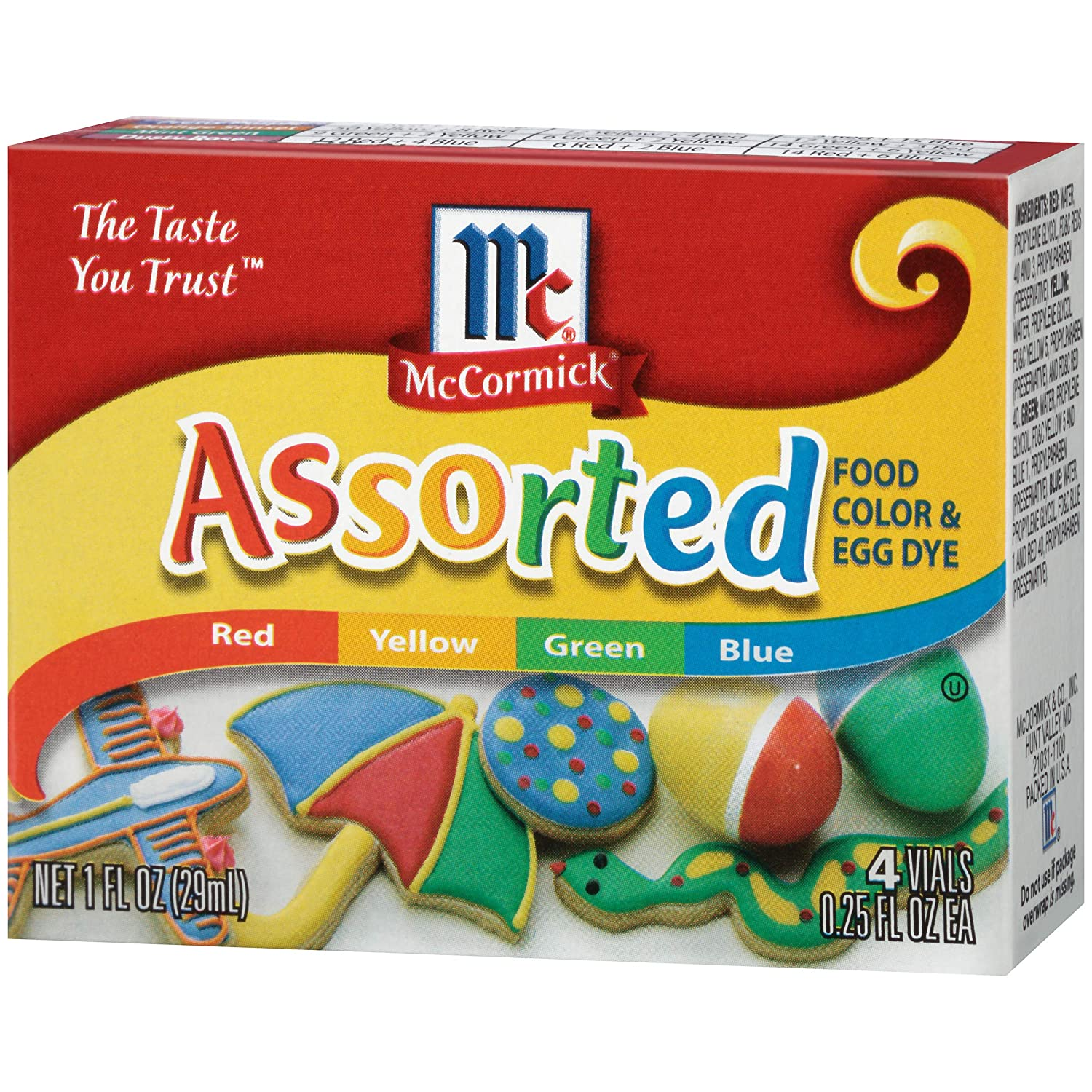 McCormick Assorted Food Color, 0.25 Fl. Oz (4 Count)