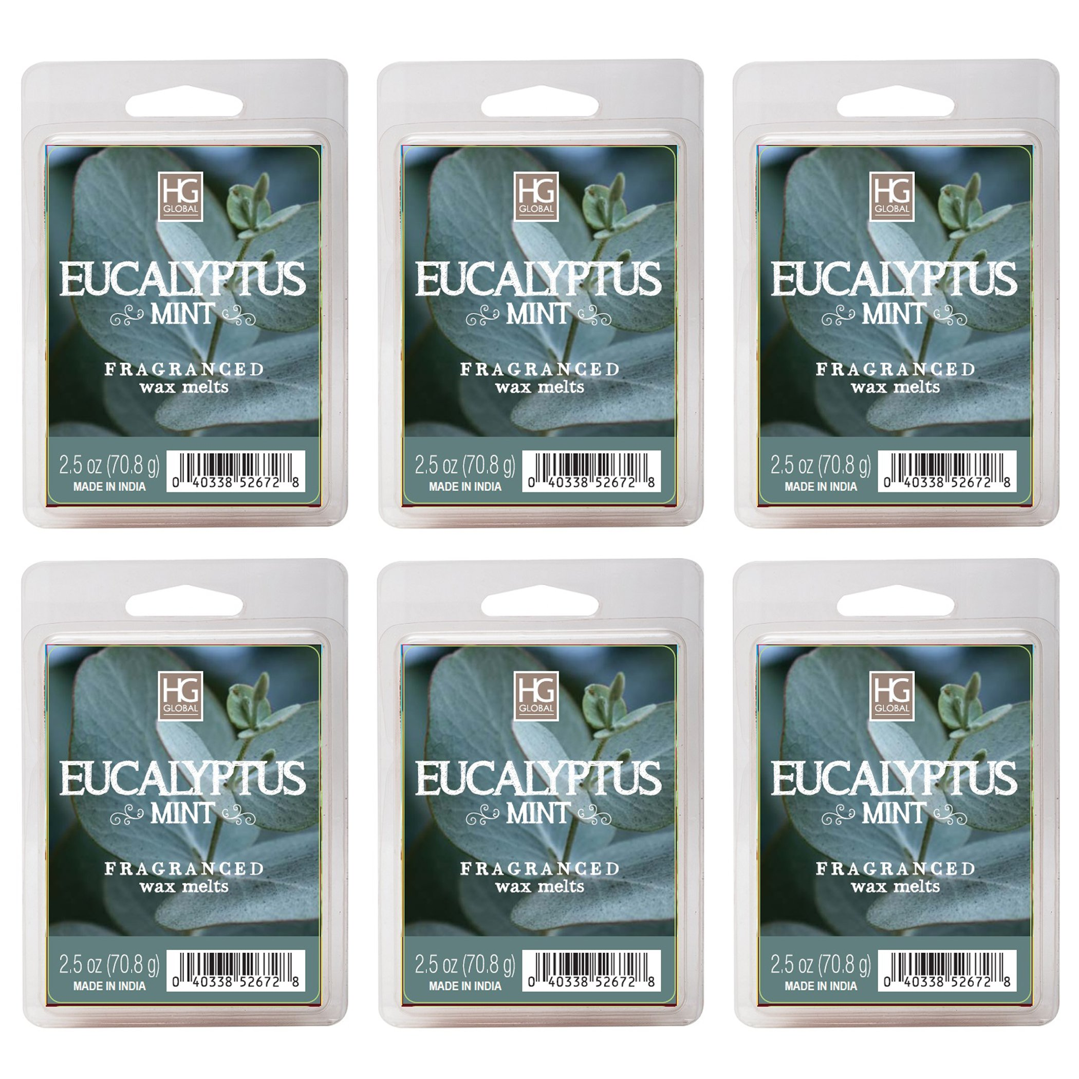 Hosley's Eucalyptus Mint Wax Cubes - Set of 6 / 2.5 oz each. Hand poured Wax Infused with Essential Oils. Perfect for Everyday Use, Wedding, Events, Aromatherapy, Spa, Reiki, Meditation. O3