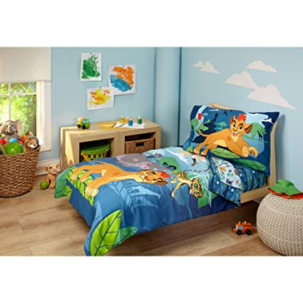 Captivating 4 Piece Kids Blue Green Lion Guard Toddler Bed Set, Gray Yellow Disney  Bedding Cheetah