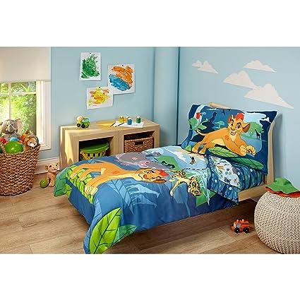 4 Piece Kids Blue Green Lion Guard Toddler Bed Set, Gray Yellow Disney  Bedding Cheetah