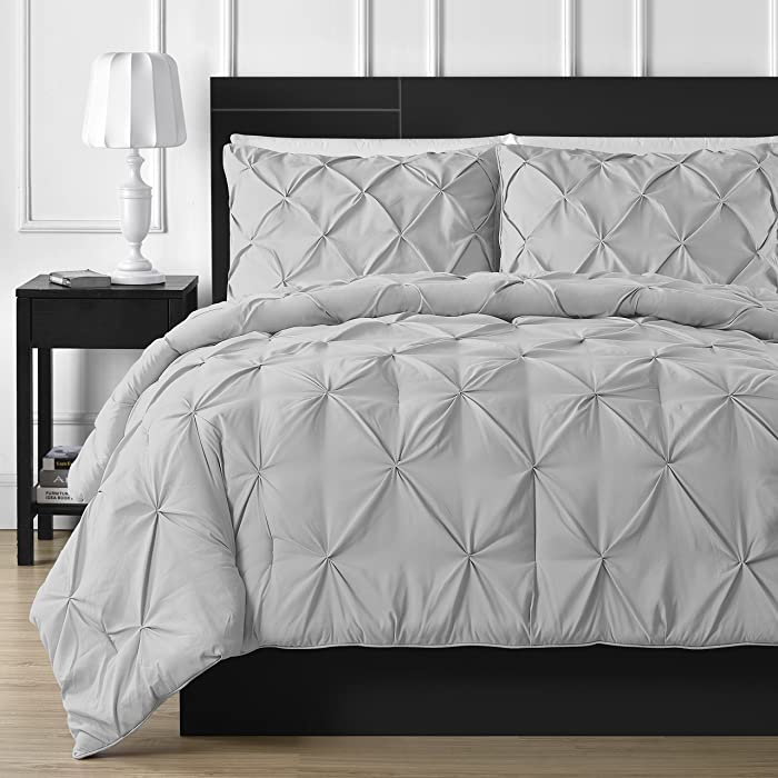Comfy Bedding Double Needle Durable Stitching 3-Piece Pinch Pleat Comforter Set All Season Pintuck Style, King, Light Grey