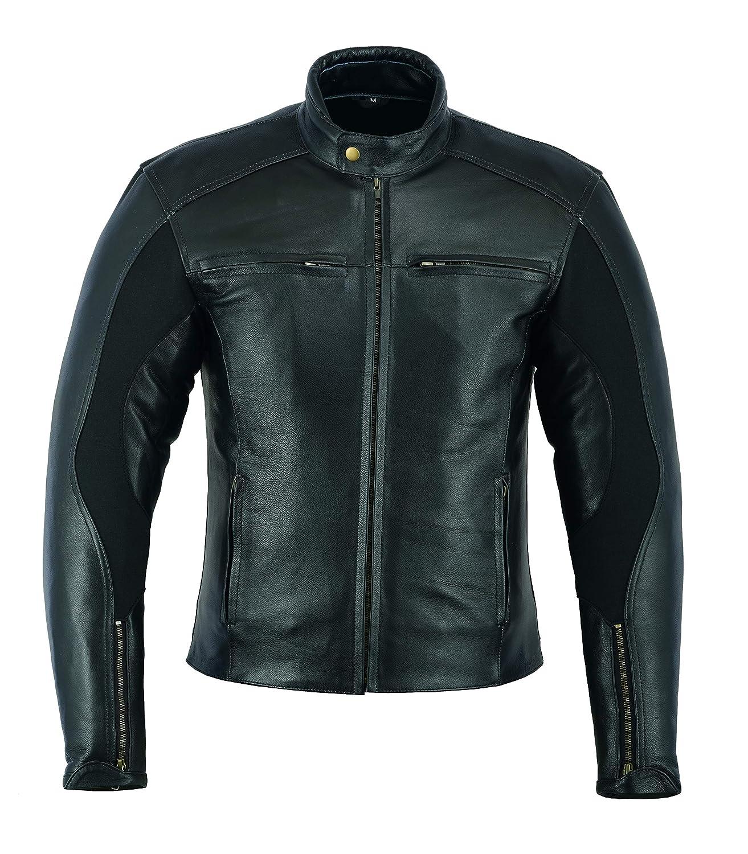 estilo cl/ásico estilo vintage Sterling Sports/® Chaqueta de piel para motocicleta para hombre color negro con armadura aprobada por la CE