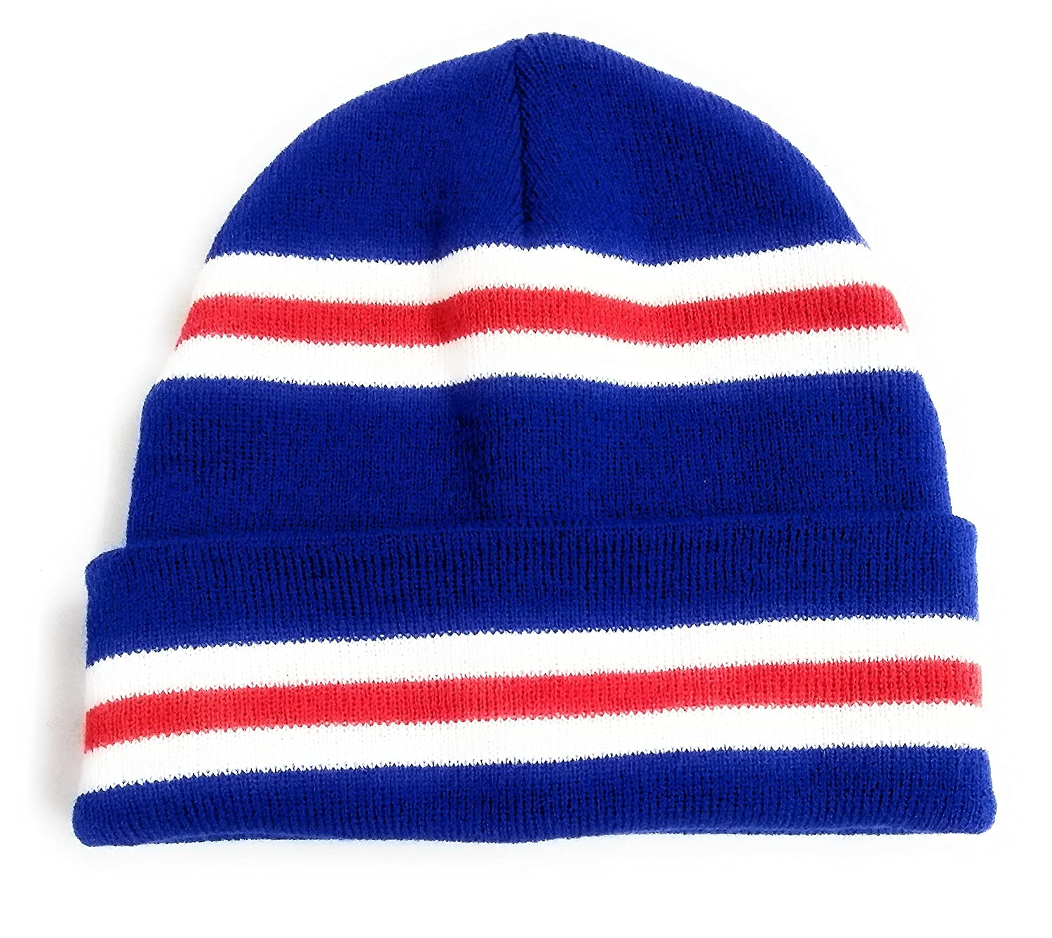 ebabbd169 Rangers colours Blue Red & White Stripe Retro Beanie Hat Double ...