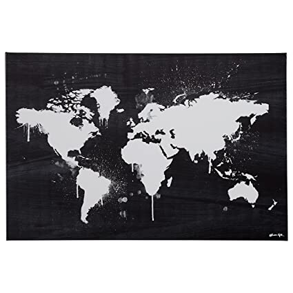 rivet black and white paint drip world map canvas print 36
