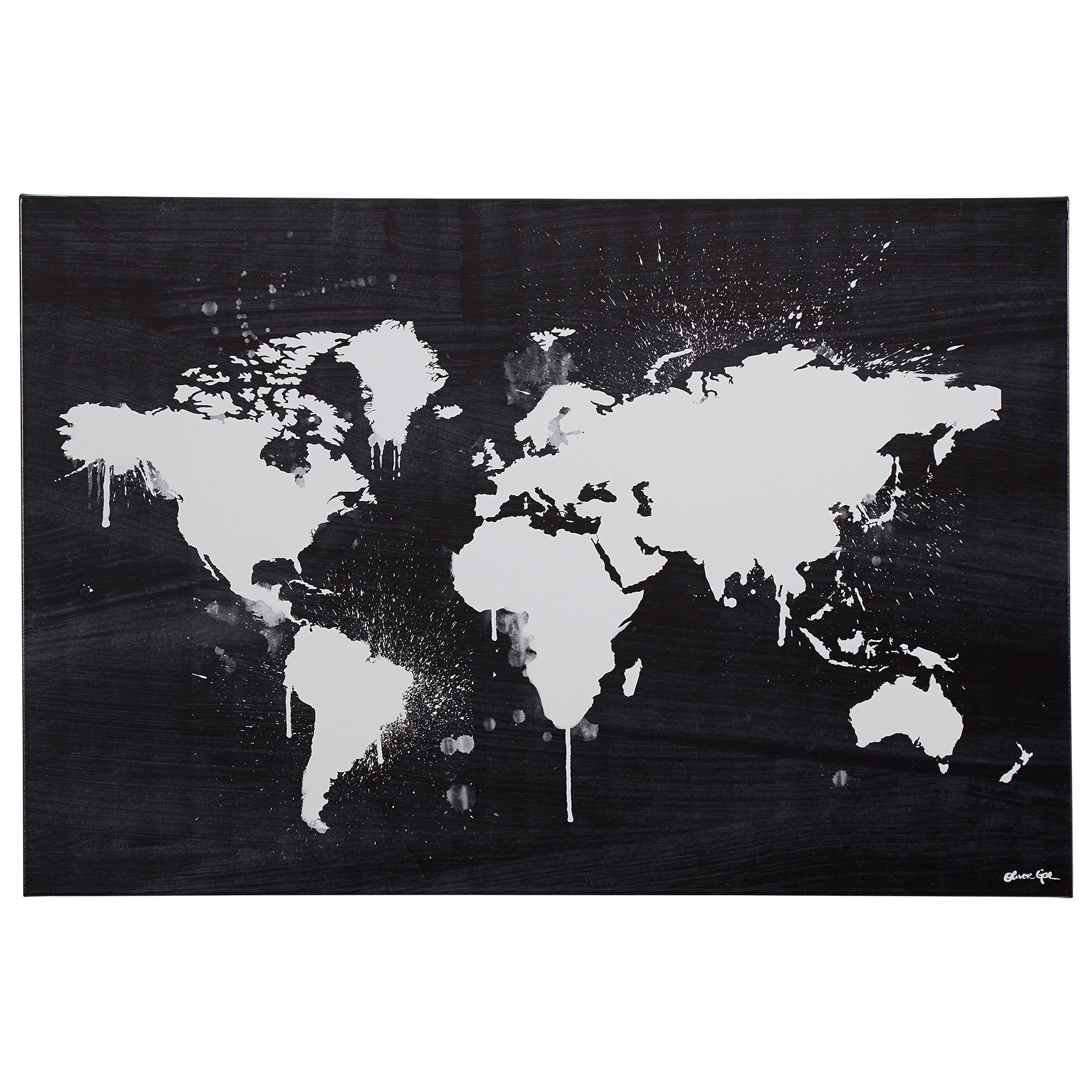 Black and White Paint Drip World Map Canvas Print, 36'' x 24''