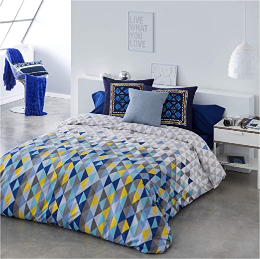 COTTON ART Funda Nordica TRIANGULOS Azul Reversible Cama de 150-50 ...